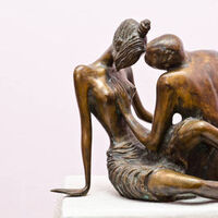 .Love2002 .year.bronze.38x48x40 sm  Weight in 80 kg. by Zakir Ahmedov - search and link Sculpture with SculptSite.com