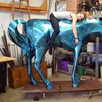 Big Blue Horse by Donald Gialanella - search and link Sculpture with SculptSite.com