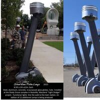 Hemi Piston Street Lamps- limited edition by Tj Aitken - search and link Sculpture with SculptSite.com