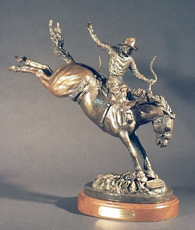Legends of Rodeo - Casey Tibbs, Cap and Necktie by Edd Hayes - search and link Sculpture with SculptSite.com