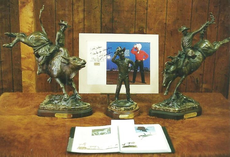 Legends of Rodeo - Jim Shoulders, All Around Champ by Edd Hayes - search and link Sculpture with SculptSite.com