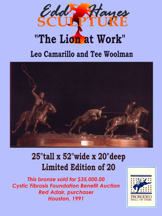 Legends of Rodeo - Leo Camarillo and Tee Woolman, The Lion at Work by Edd Hayes - search and link Sculpture with SculptSite.com