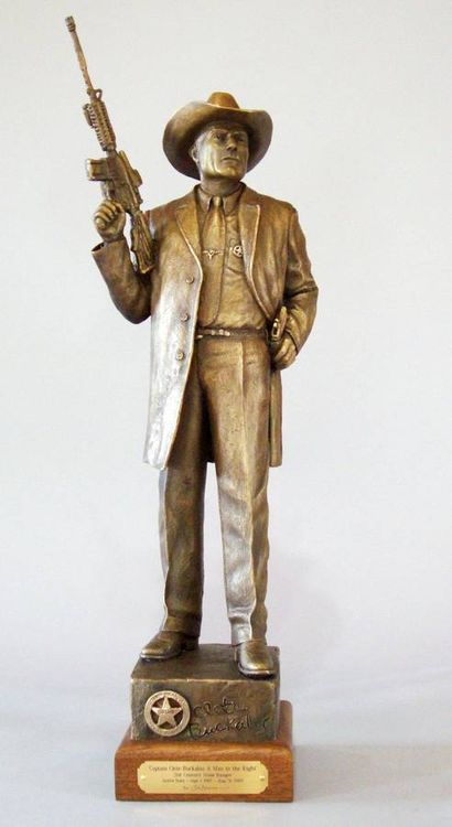 Texas Rangers legends, Capt. Clete Buckaloo by Edd Hayes - search and link Sculpture with SculptSite.com
