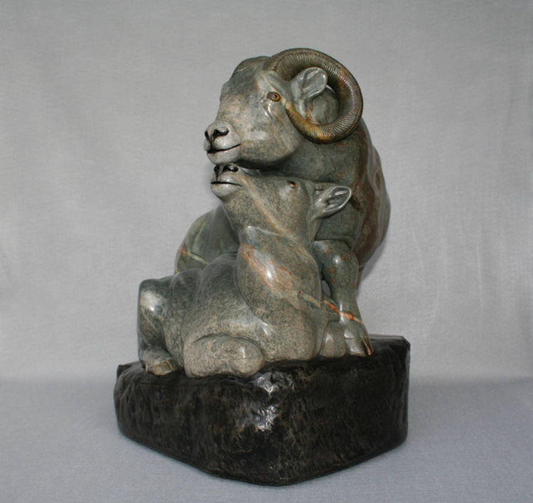 """""""High Country Moment"""" (Big Horn Sheep) by Gerald Sandau - search and link Sculpture with SculptSite.com"""