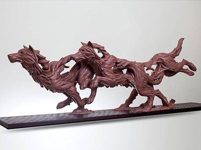 Spirit of the Pack by Robert Eccleston - search and link Sculpture with SculptSite.com