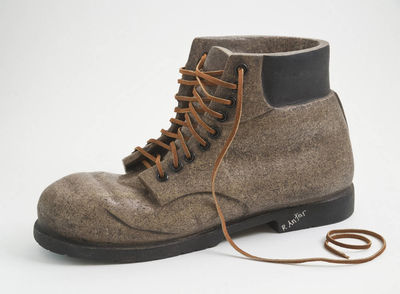 work boot with rivets dark brown by Robin Antar - search and link Sculpture with SculptSite.com