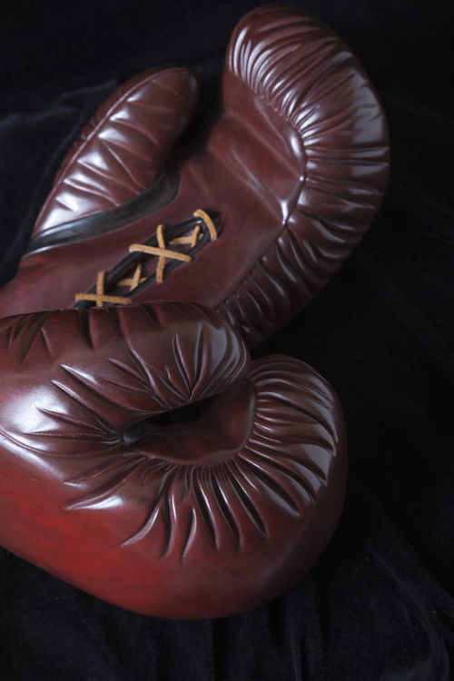 Boxing Gloves bronze by Robin Antar - search and link Sculpture with SculptSite.com
