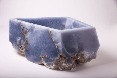 blue alabaster bowl by Robin Antar - search and link Sculpture with SculptSite.com