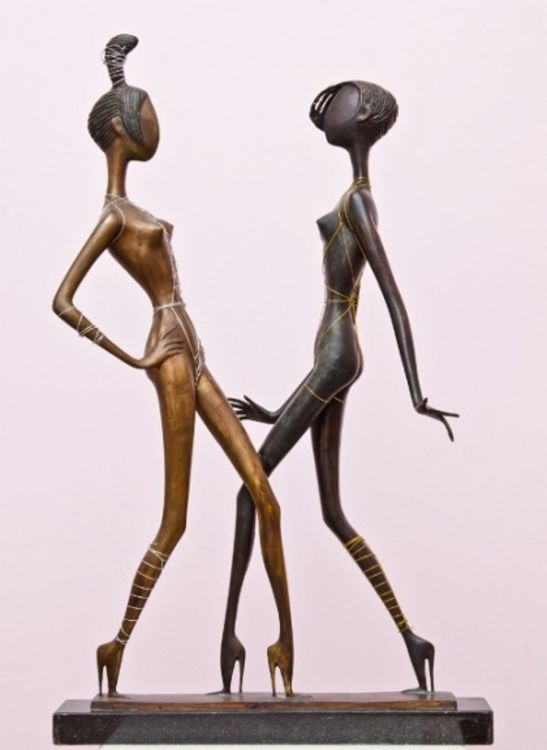 ..BLACK AND WHITE BEAUTIES 2002.year.bronza.102 x 58 x 38 sm by Zakir Ahmedov - search and link Sculpture with SculptSite.com