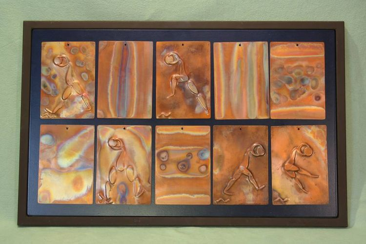 10 piece Copper Tiles by Barry W. Sheehan - search and link Sculpture with SculptSite.com