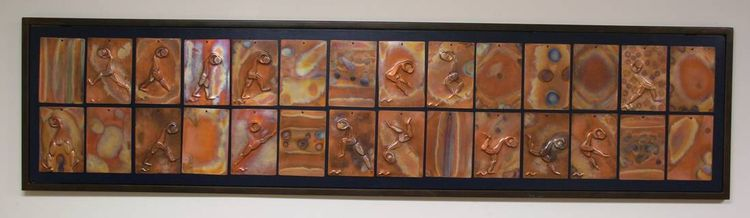 14 piece Copper Tiles by Barry W. Sheehan - search and link Sculpture with SculptSite.com