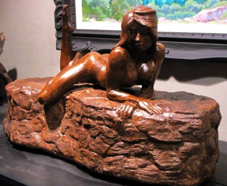Lady on the rocks 2 by Edward Kitt - search and link Sculpture with SculptSite.com