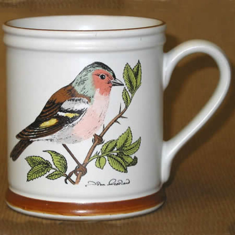 Bird on cup by Denby - search and link Sculpture with SculptSite.com