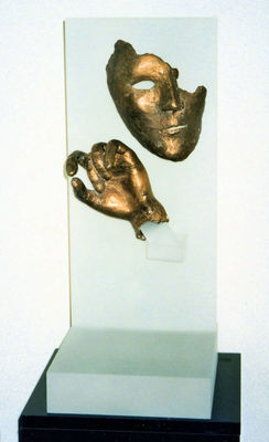 Mask and Hand by Debora Solomon - search and link Sculpture with SculptSite.com