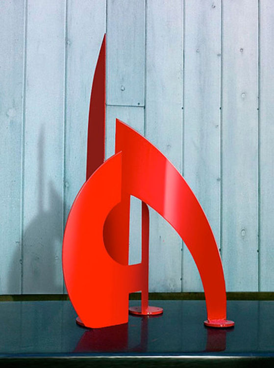 After the Race II I-24in Red by Gilbert Boro - search and link Sculpture with SculptSite.com