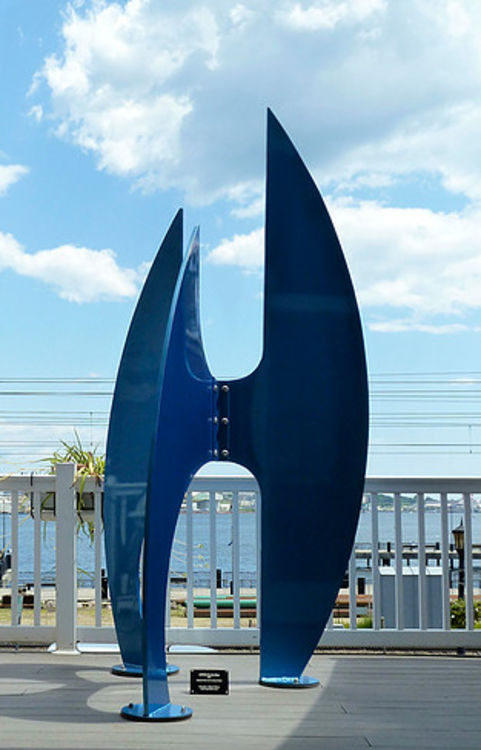 After the Race II-8ft Electric Blue by Gilbert Boro - search and link Sculpture with SculptSite.com