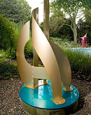 Regatta II-6ft Brass and Teal by Gilbert Boro - search and link Sculpture with SculptSite.com