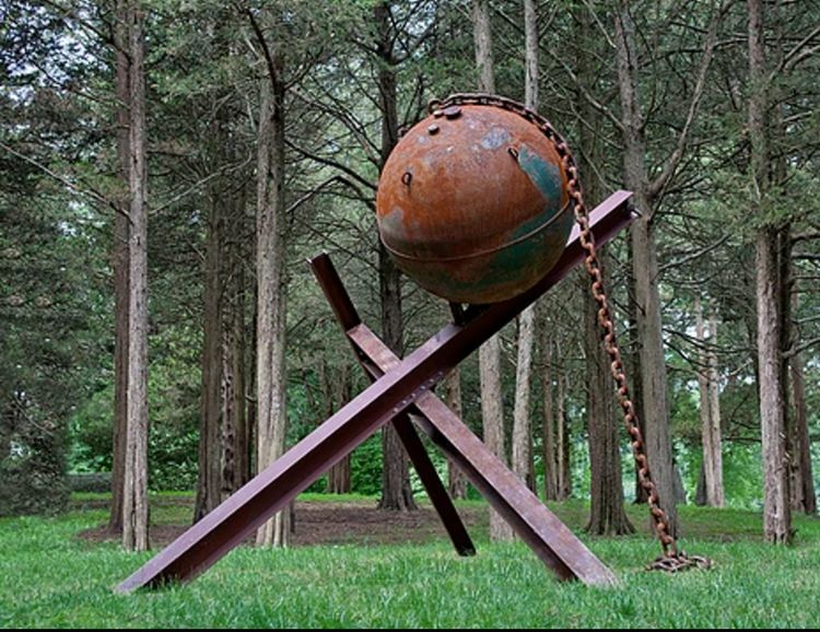 Mooring Ball, Beams and Chain II-7.5ft by Gilbert Boro - search and link Sculpture with SculptSite.com