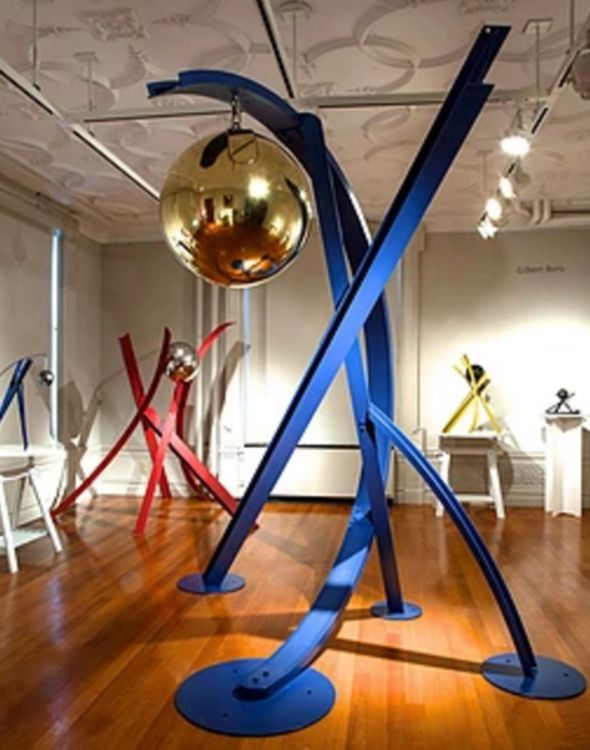 Ball, Beams & Curves IV-9ft Violet Blue by Gilbert Boro - search and link Sculpture with SculptSite.com