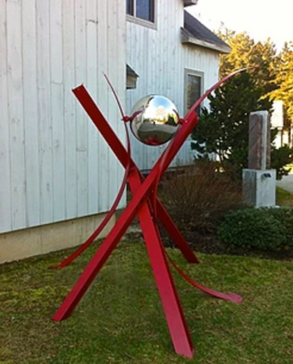 Ball, Beams & Curves II-7in Coming Together by Gilbert Boro - search and link Sculpture with SculptSite.com