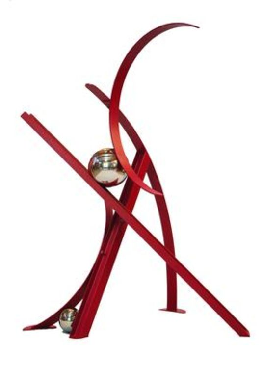 Ball, Beams & Curves III-6ft Ruby Red by Gilbert Boro - search and link Sculpture with SculptSite.com