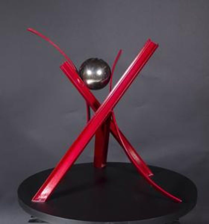Ball, Beams & Curves I-29in Ruby Red by Gilbert Boro - search and link Sculpture with SculptSite.com