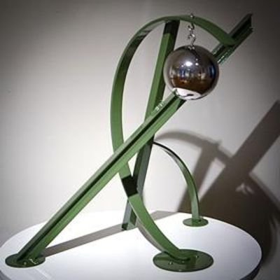 """Ball, Beams & Curves I/19"""" Olive Green by Gilbert Boro - search and link Sculpture with SculptSite.com"""