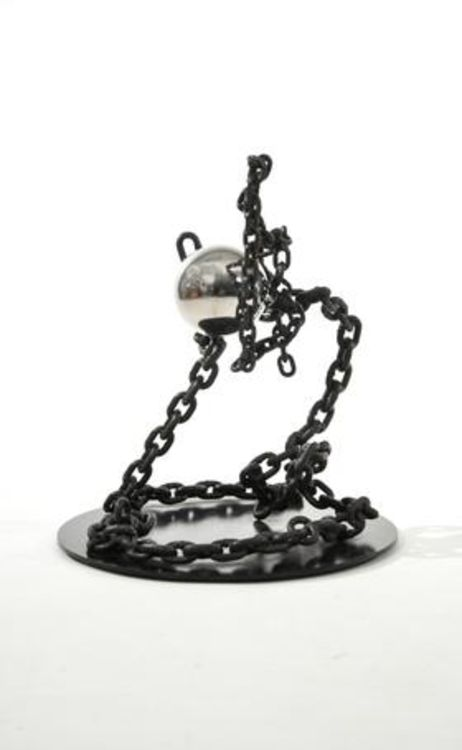 Stainless Ball and Chain I-21in Black by Gilbert Boro - search and link Sculpture with SculptSite.com