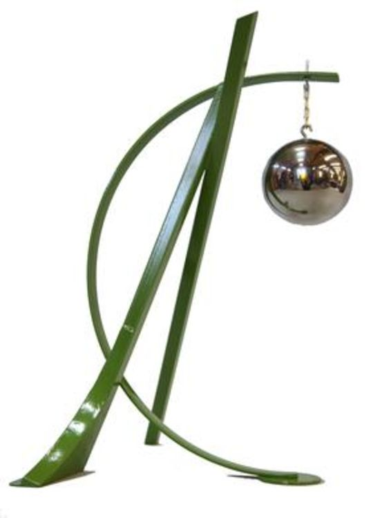 Ball, Beams & Curves I-20in Fern Green by Gilbert Boro - search and link Sculpture with SculptSite.com