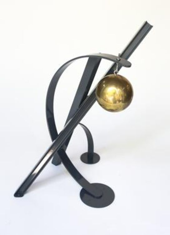 Ball, Beams & Curves I-18in Slate Gray by Gilbert Boro - search and link Sculpture with SculptSite.com