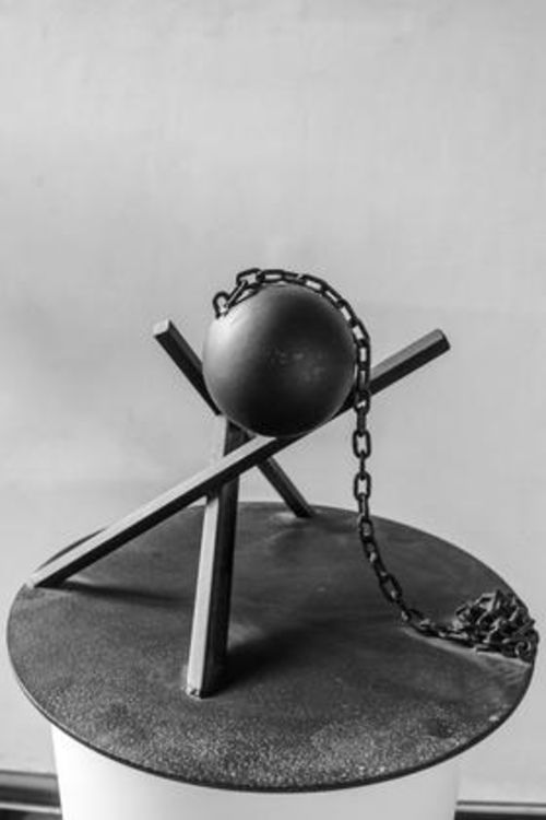 Ball, Beams & Chain I-9.5in by Gilbert Boro - search and link Sculpture with SculptSite.com
