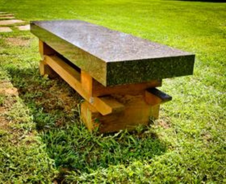 Granite Wood Bench I by Gilbert Boro - search and link Sculpture with SculptSite.com