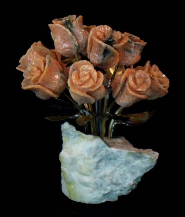 One Dozen Salmon Colored Marble Stone Roses by John Foster - search and link Sculpture with SculptSite.com