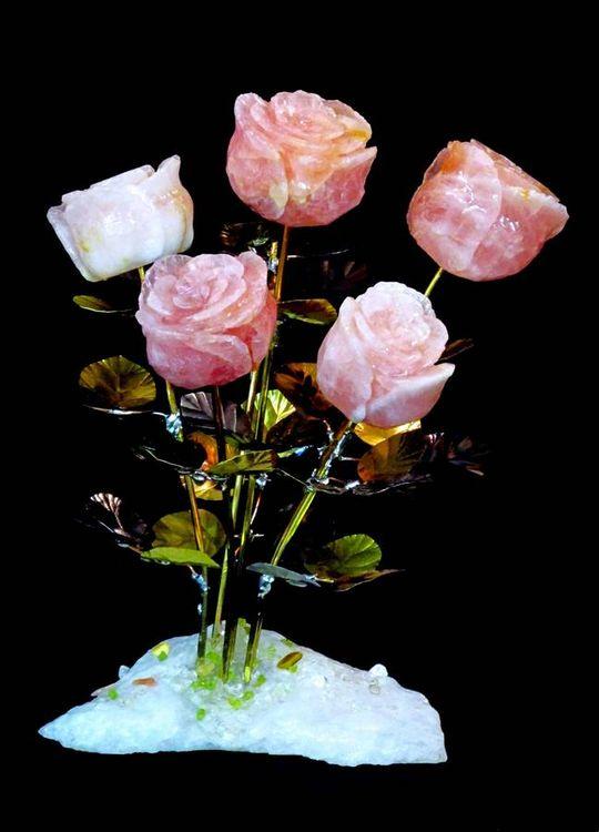 Half Dozen Rose Quartz Stone Roses by John Foster - search and link Sculpture with SculptSite.com
