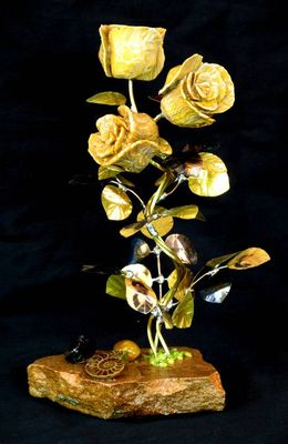 A Triple Butterscotch Onyx Stone Flower Sculpture by John Foster - search and link Sculpture with SculptSite.com