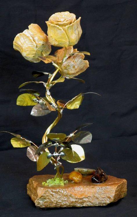 A Triple Butterscotch Onyx Stone Flower Sculpture by John Foster - search and link Sculpture with SculptSite.com