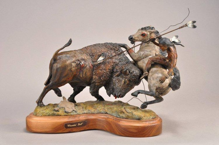 Wounded Bull by James Marsico - search and link Sculpture with SculptSite.com