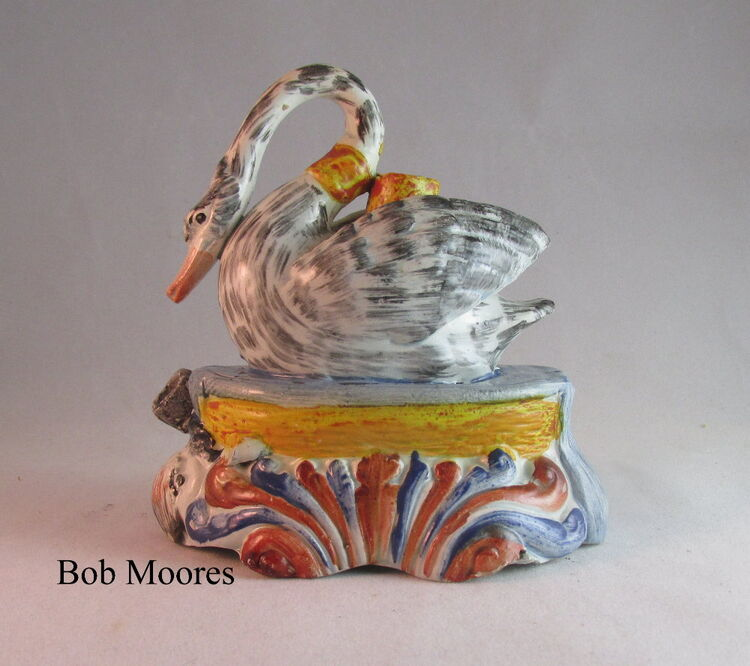 Rare Pearlware swan and otter inkwell by Nestegg Antiques - search and link Sculpture with SculptSite.com