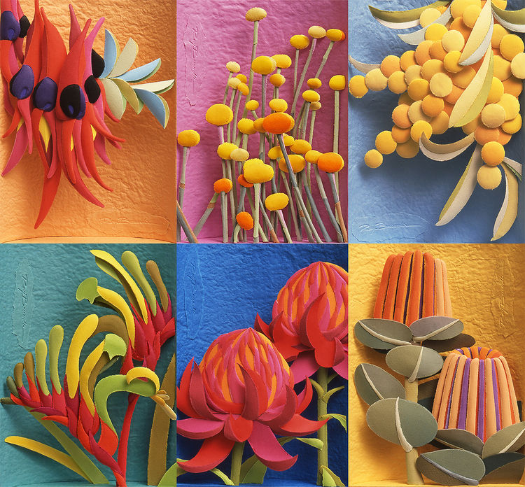 Australian Native Wildflowers set by Ray Besserdin - search and link Sculpture with SculptSite.com