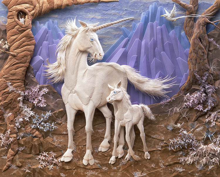Secret Mountain Hiding Place of the Unicorn by Ray Besserdin - search and link Sculpture with SculptSite.com