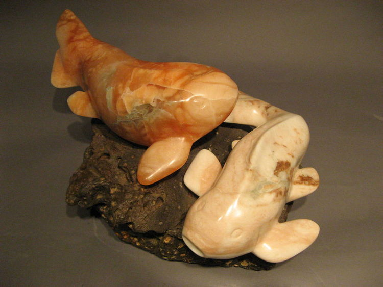 A Couple of Koi by Kim Mosley - search and link Sculpture with SculptSite.com