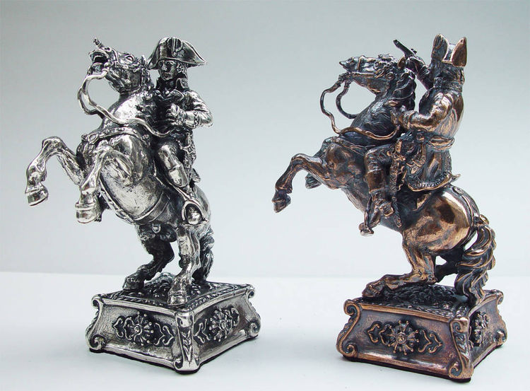 Tigrani Napoleon silver chess set by Tigran Sarkisyan - search and link Sculpture with SculptSite.com
