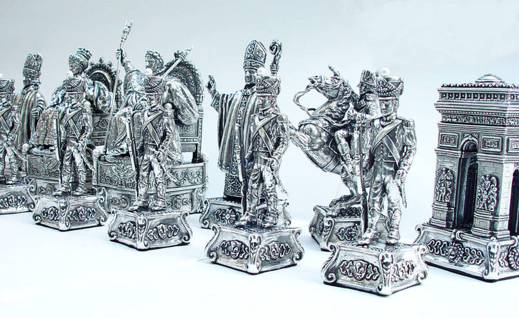 Tigrani Napoleon silver chess set by Tigran Sarkisyan - search and link Sculpture with SculptSite.com