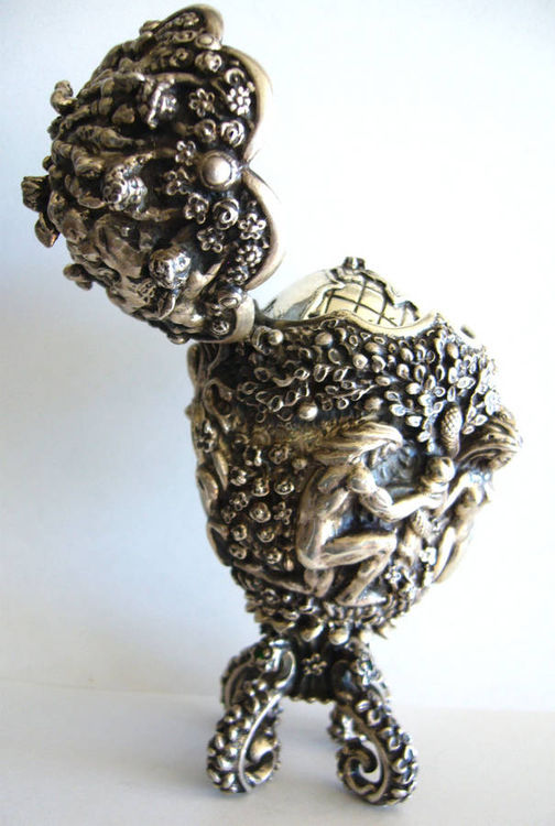 Adam and Eva - Sterling Silver Egg by Tigran Sarkisyan - search and link Sculpture with SculptSite.com